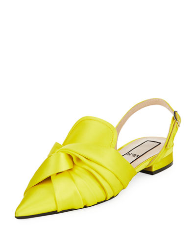 Pointed Satin Slingback Flat