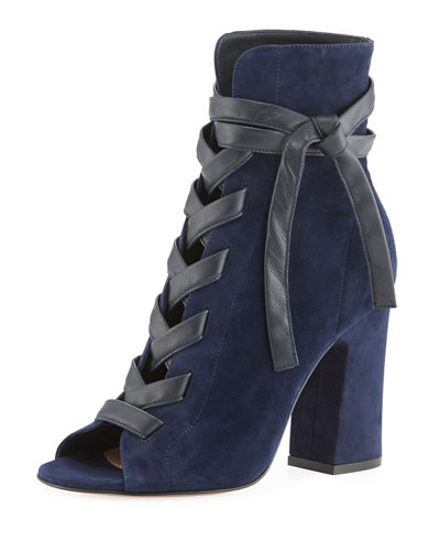 Fraser Suede Open-Toe Lace-Up Bootie