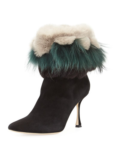 Manolo Blahnik Remola Fur Booties Latest Collections Online Clearance Manchester Great Sale ei8Rq