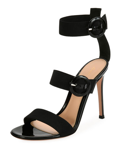 Velvet Three-Strap Sandal