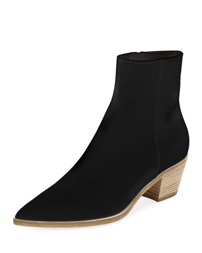 Napa Leather Stack-Heel Bootie
