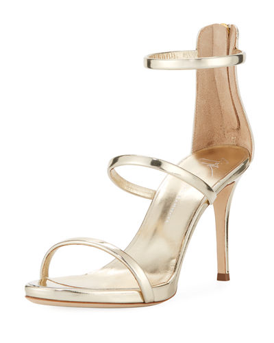 Three-Strap Patent Leather Sandal
