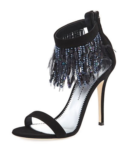 Giuseppe Zanotti Suede Sandal with Fringe Feather Detail
