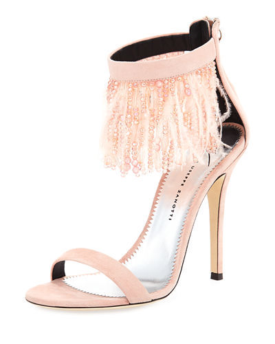 Suede Sandal with Fringe Feather Detail