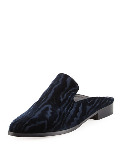 Alice Velvet Flat Loafer Mule
