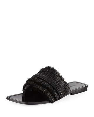 Women'S Abbe Textured Patent Leather Slide Sandals in Black