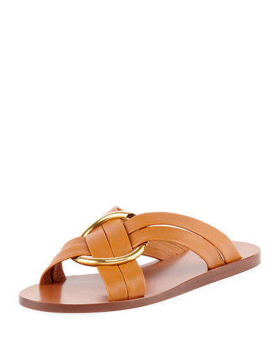 e1246c91032 Leather Ring Crisscross Slide Sandal