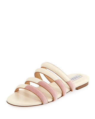 Anderson Bi-Colour Leather And Velvet Slides, White/Pink
