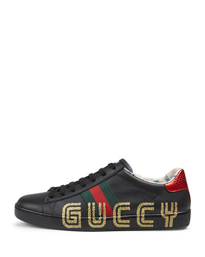 Ace Guccy Leather Sneaker Quick Look. BLACK; WHITE/GOLD