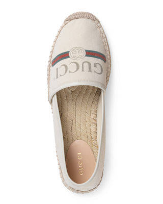 Gucci Pilar Leather-Trimmed Logo-Print Canvas Espadrilles In White
