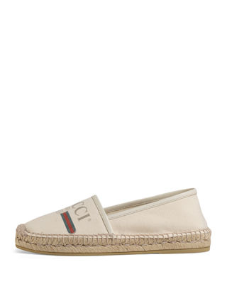 Pilar Leather-Trimmed Logo-Print Canvas Espadrilles, White from SSENSE