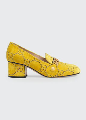 Sylvie 55Mm Gg Velvet Loafer, Yellow