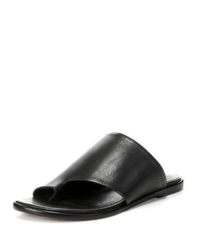 Edris Flat Siviglia Leather Slide Sandal