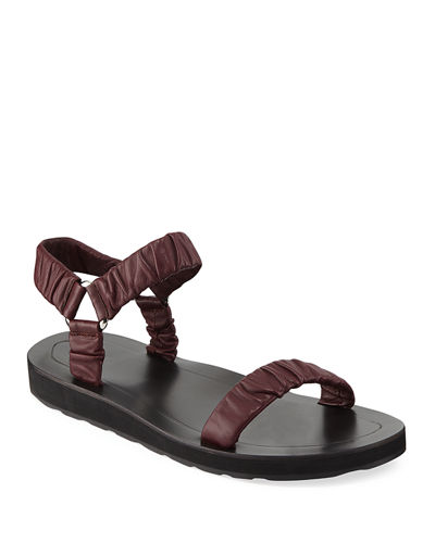 Egon Ruched Flat Leather Sandals