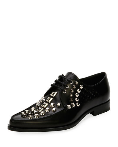 Studded Lace-Up Leather Oxford