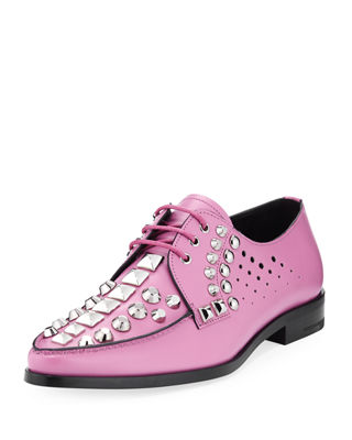 Studded Lace Up Leather Oxford by Prada