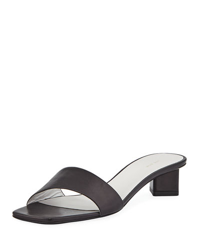 5399eacc25bee THE ROW Chocolate Capretto Leather Slide Sandals