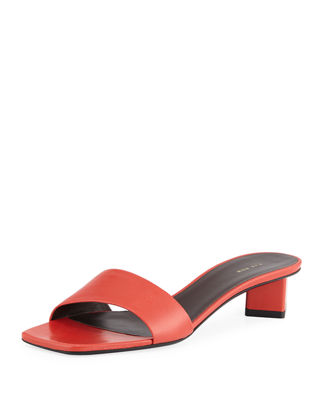 Chocolate Capretto Leather Slide Sandals, Red