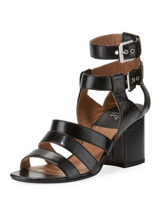 Rela Strappy Leather Block-Heel Sandal, Black