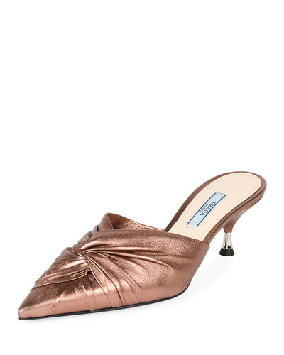 Low-Heel Metallic Leather Twist Mule