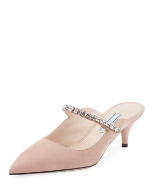 Crystal-Embellished Suede Mules - Nudeflesh Size 9 in Pink