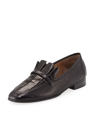 The Row Adam Pleat Leather Loafers