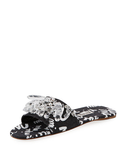 Crystal Beaded Denim Logo Flat Slide Sandal