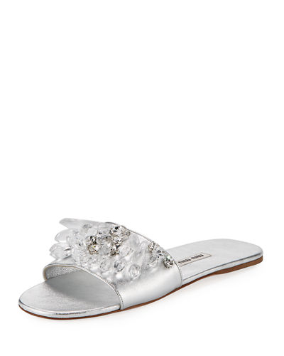 Crystal Beaded Leather Flat Slide