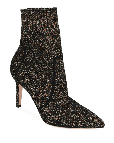 Glitter Boucle Knit Pull-On Bootie