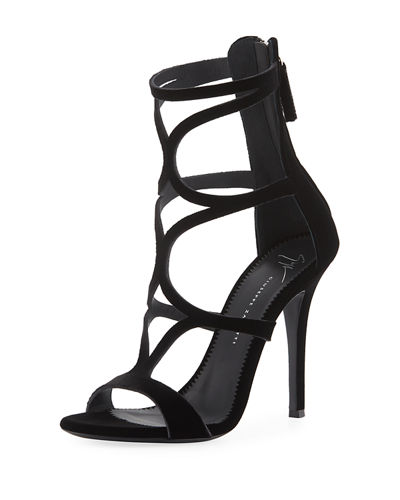Caged Velvet High Sandal