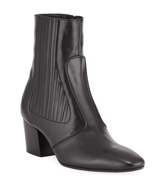 Ringo Pleated Leather Bootie in Black