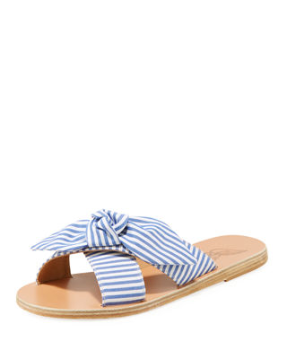 Thais Bow-Embellished Cotton Slide Sandals, Blue Pattern