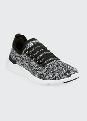 Women'S Techloom Breeze Knit Lace-Up Sneakers, Black/White