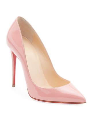 Pigalle Follies Patent Pointed-Toe Red Sole Pump, Medium Pink