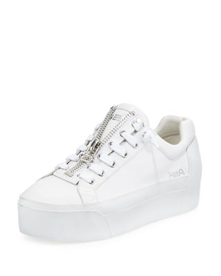 Women'S Buzz Leather Platform Sneakers, White-Red