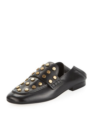 Feenie Studded Flat Fold-Down Loafer, Black