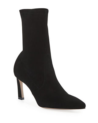 Rapture Mid Calf Stretch Suede Booties in Black