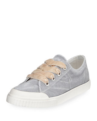 MARLEY LACE-UP VELVET RUBBER SNEAKERS