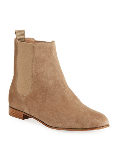 Gored Suede Ankle Bootie