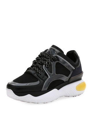FENDI LEATHER AND MESH TRAINER SNEAKERS