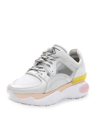 FENDI Leather And Mesh Trainer Sneakers, White