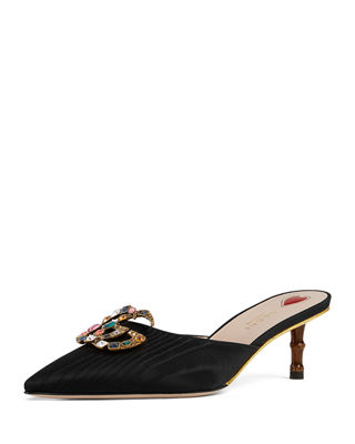 WOMEN'S UNIA MOIRE SILK & CRYSTAL DOUBLE G MULES