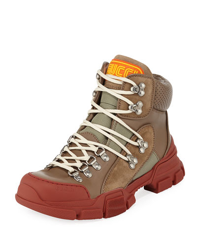 Chunky Leather/Canvas Hiking Boot
