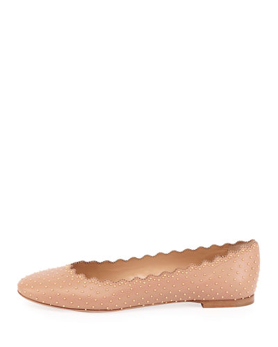 7536718269f Chloe Lauren Scalloped Ballet Flats with Silver Studs