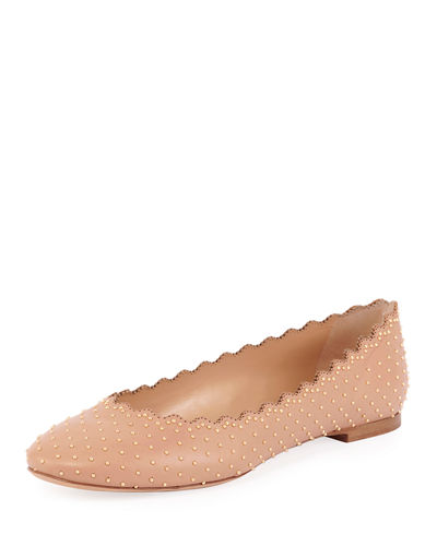 Lauren Flat Scalloped Ballerina with Silver Studs