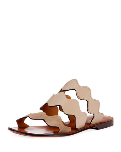 Flat Wave Mixed Slide Sandals