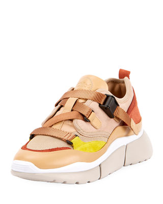 Chloe Sonnie Leather Velcro Strap Sneakers In Neutrals, Pink