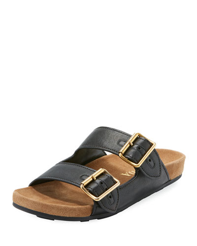 8c444b80038 Prada Flat Slide Sandal with Buckle Straps