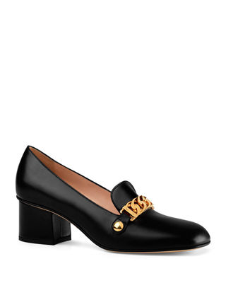 Sylvie Web-Stripe And Chain Block-Heel Loafers, Black Leather