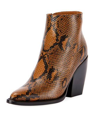 BROWN AND BLACK RYLEE 80 SNAKESKIN EFFECT LEATHER BOOTS